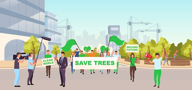 Sparen bomen sociale protestillustratie. ecologische beweging, milieubescherming evenement concept. demonstranten met borden op straat die protesteren tegen illegale bouw, ontbossing
