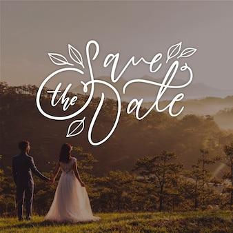 Sparen de datum belettering met bruid en bruidegom