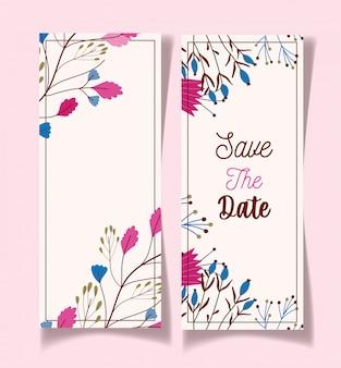 Sparen de datum bloeit decoratieve bloemenhuwelijkskaarten