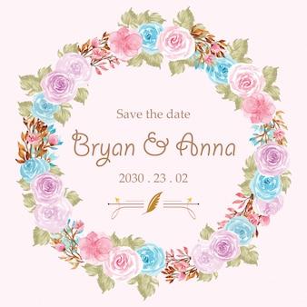 Sparen de datum bruiloft kaartsjabloon met prachtige bloemen krans