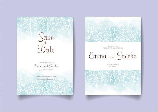 Sparen de datum, bruiloft uitnodigingskaart met aquarel achtergrond, bladeren en takken.
