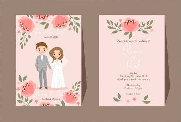 Sparen de datum. leuke paar cartoon met bloemen bruiloft uitnodiging kaartsjabloon