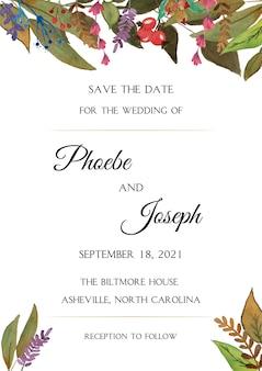 Sparen de datum met waterverfbloemen. bruiloft uitnodiging kaartsjabloon
