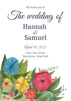 Sparen de datum met waterverfbloemen. bruiloft uitnodigingskaart