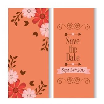 Sparen de datum romantische banners met bloemendecoratie
