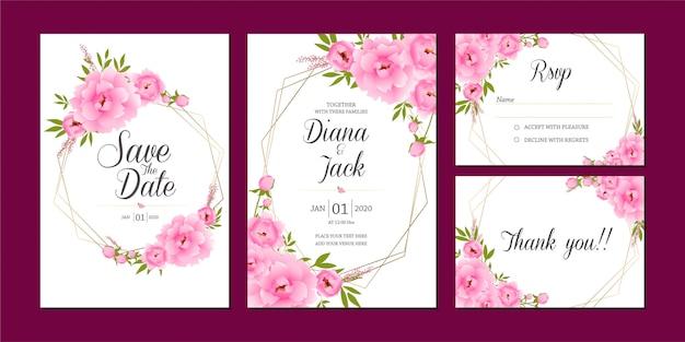 Sparen de datum roze bloemen set, bruiloft uitnodigingskaartsjabloon