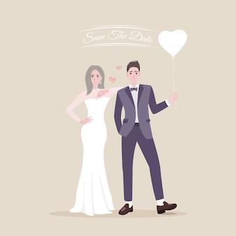 Sparen de datum van jonge gelukkige jonggehuwdenbruid en bruidegom
