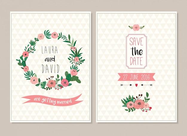 Sparen de datumhuwelijksuitnodiging kaarteninzameling met bloemenontwerp