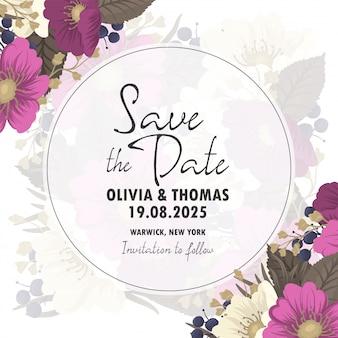 Sparen de datumkaart met bloemen