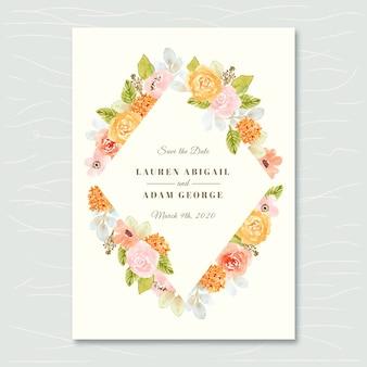Sparen de datumkaart met pastel bloemen aquarel frame
