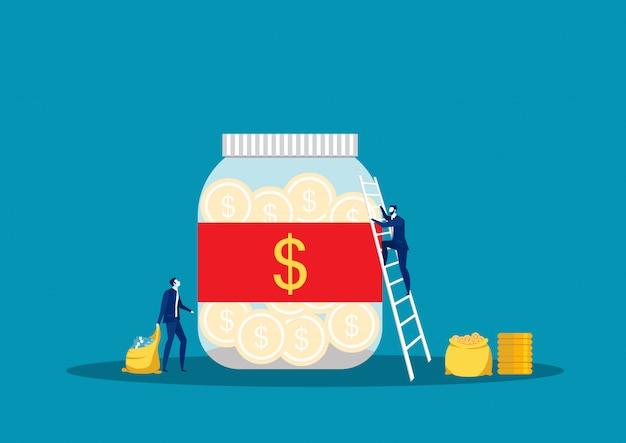 Sparen door geld te investeren. pot, glasbak met geld, man neemt geld. voor jar making saving, vector illustration