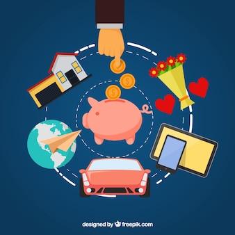 Sparen en investeren van geld met platte ontwerpen