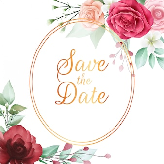 Sparen het datum bloemenframe met mooie rode waterverfbloemen