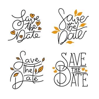 Sparen het datumhuwelijk belettering pack