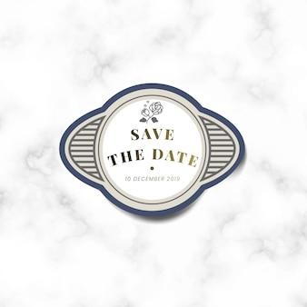 Sparen het vintage de stickeretiket van de datumhuwelijksuitnodiging