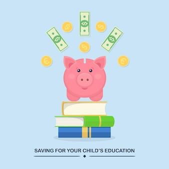 Sparen voor de onderwijsillustratie van uw kinderenkind met spaarvarken met munten en bankbiljetten op boeken
