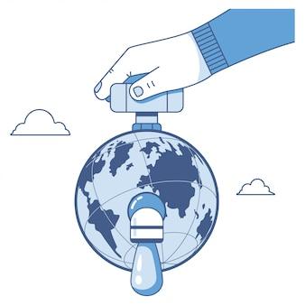 Sparen water vlakke illustratie met druipende kraan, aarde en menselijke hand die op wit wordt geïsoleerd