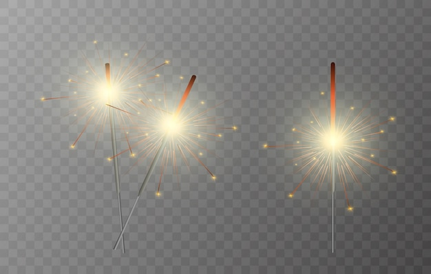 Sparkler. vuurwerk sprankelend op de achtergrond. realistisch lichteffect.