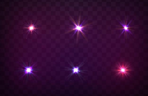 Sparkles, lens flare, explosie, glitter, lijn, zonneflits, vonk, sterren. paars gloeiend licht Premium Vector