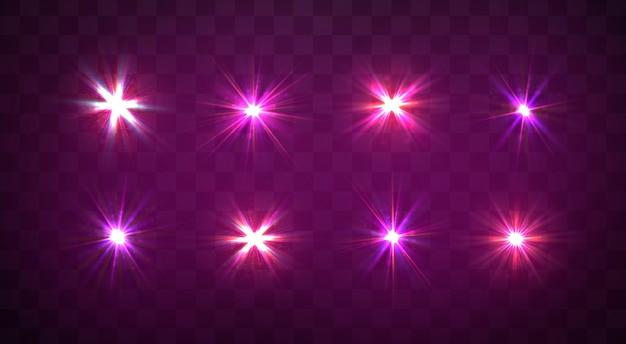 Sparkles, lens flare, explosie, glitter, lijn, zonneflits, vonk, sterren. paars gloeiend licht