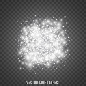 Sparkles op transparante achtergrond. sterrenstof. gloeiende deeltjes. gloed. lichteffecten. .