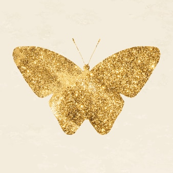 Sparkly gouden vlinder icoon