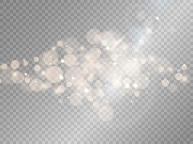 Sparks glitter speciaal lichteffect, schittert op transparante achtergrond. kerst sprankelende magische stofdeeltjes bokeh-effect