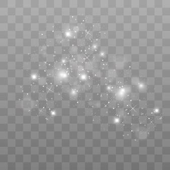 Sparks glitter speciaal lichteffect, schittert op transparante achtergrond. kerstmis sprankelende magische stofdeeltjes
