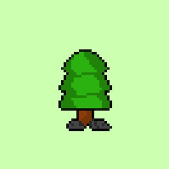 Sparrenboom met pixelkunststijl