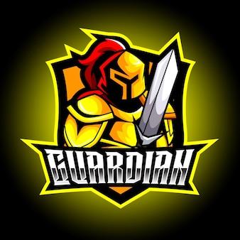 Sparta geel mascotte esport-logo