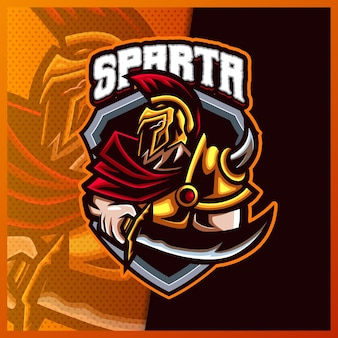 Sparta god viking gladiator warrior mascot esport logo ontwerp illustraties vector sjabloon, romeinse ridder logo voor team game streamer youtuber banner twitch onenigheid, volledige kleur cartoon stijl