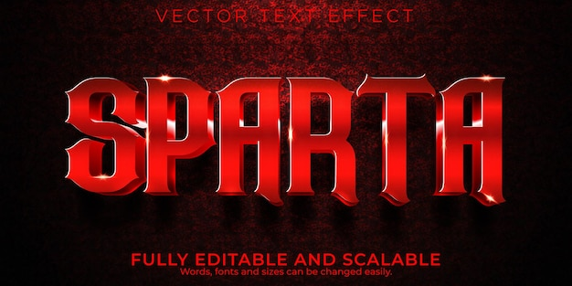 Sparta krijger teksteffect, bewerkbare gladiator en leger tekststijl
