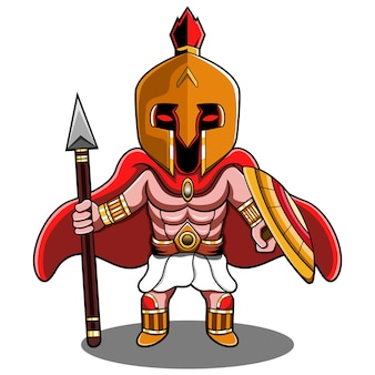 Spartaans chibi mascotte logo