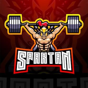 Spartaans esport mascotte logo ontwerp