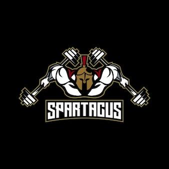 Spartaans fitness-logo vol spierlichaam