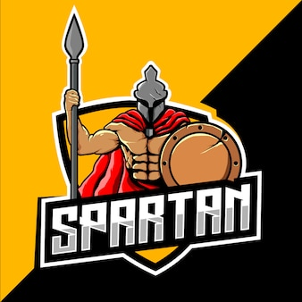 Spartaans krijger mascotte esport-logo
