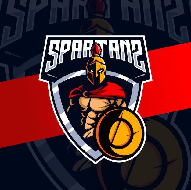 Spartaans mascotte esport logo-ontwerp