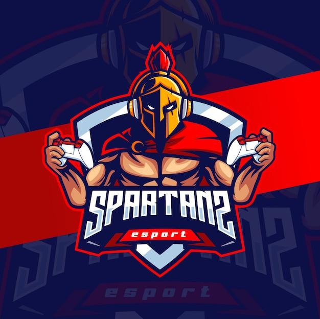 Spartaans mascotte esport logo ontwerp