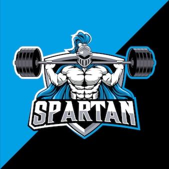 Spartaans mascotte fitness esport logo-ontwerp