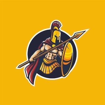 Spartaans met speer esport logo mascotte vector