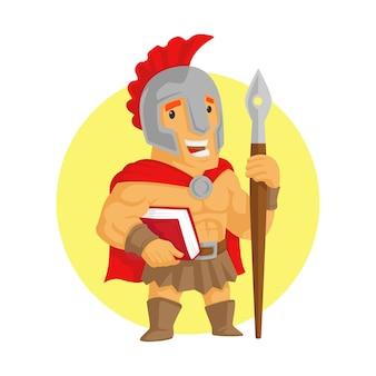 Spartaans soldaatkarakter met boek en pen vectorillustratie