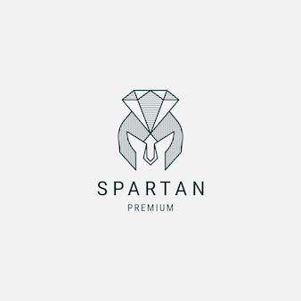Spartaanse diamant lijn kunst logo ontwerpsjabloon