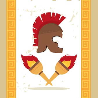 Spartaanse helm en griekse fakkels