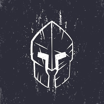 Spartaanse helm met krassen, vooraanzicht, vectorillustratie