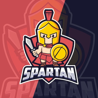 Spartaanse kind mascotte esport logo ontwerp