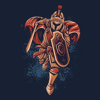 Spartaanse krijger aanval afbeelding ontwerp