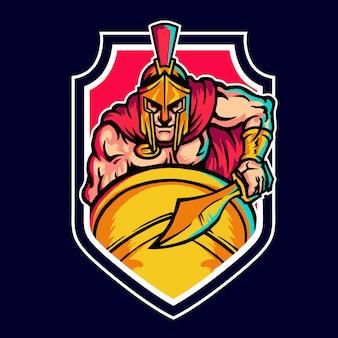 Spartaanse krijger mascotte logo