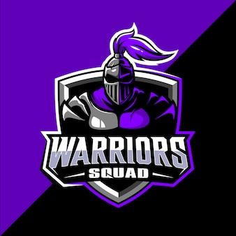 Spartaanse krijger squad mascotte esport logo-ontwerp