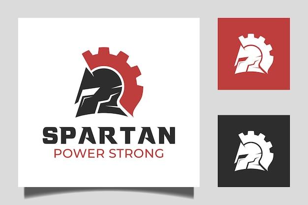 Spartaanse krijger vector logo template design combinatie met spartaanse helm en versnelling ontwerp concept pictogram illustratie