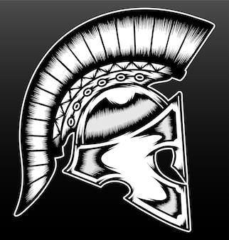 Spartaanse krijgerhelm geïsoleerd op zwart